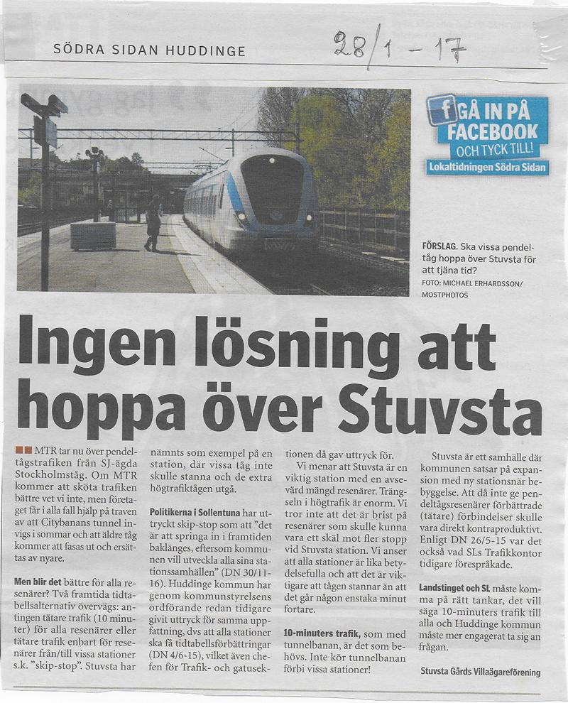 Stuvsta station Södra sidan 28 jan 2017